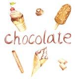 Différents genres de crème glacée et d'inscription Illustration d'aquarelle d'aspiration de main Photographie stock libre de droits