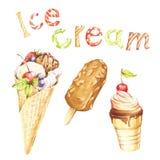 Différents genres de crème glacée et d'inscription Illustration d'aquarelle d'aspiration de main Photos stock