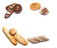 Différents genres de pain sur la vue supérieure blanche Photos stock