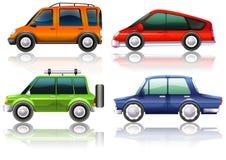 Différents genres de voitures dans quatre couleurs illustration libre de droits