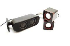 Différents haut-parleurs avec le câble Photographie stock