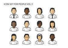 Différents icônes/symboles des têtes et des visages d'avatar avec de diverses couleurs de la peau pour les hommes et des femmes Photos libres de droits