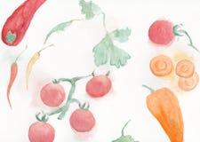 Différents légumes : carottes, poivrons Images libres de droits