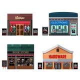Différents magasins avec des signes de vente de Black Friday illustration stock