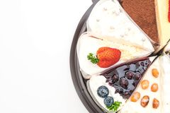 Différents morceaux de gâteau Photos stock