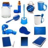 Différents objets bleus photographie stock