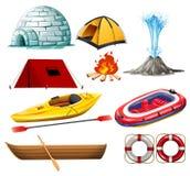 Différents objets pour camper et augmenter illustration stock