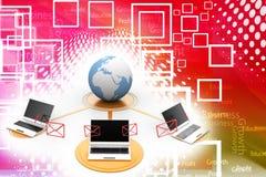 Différents ordinateurs portables autour de globe Image stock