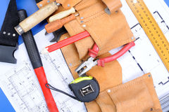Différents outils de charpentier Photo stock