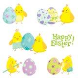 Différents personnages de dessin animé de poulet de Pâques Photo libre de droits
