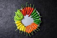 Différents piments de couleurs dans le plat en bois image stock