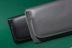 Différents portefeuilles en cuir sur la tirette Fond vert Photo stock