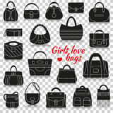 Différents sacs de femmes Icônes de silhouette avec la réflexion sur le fond transparent illustration stock