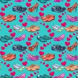 Différents styles du ` s de messieurs et des chaussures du ` s de dame dans l'amour, coeurs roses de propagation, modèle sans cou illustration libre de droits