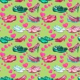 Différents styles du ` s de messieurs et des chaussures du ` s de dame dans l'amour, coeurs roses de propagation, palette de coul illustration libre de droits