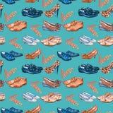Différents styles du ` s de messieurs et des chaussures du ` s de dame dans l'amour, la sépia et la palette de couleurs bleue, mo illustration stock