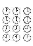 Différents symboles d'horloge Images stock