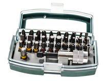 Différents têtes et accessoires de foret de tournevis de sécurité dans a Image stock