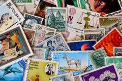 Différents timbres de partout dans le monde Photographie stock