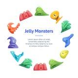 Différents types cercle mignon de Jelly Monsters Characters Banner Card Vecteur illustration stock