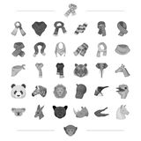 Différents types d'écharpes et toute autre icône de Web dans le style monochrome icônes d'animaux sauvages dans la collection d'e illustration libre de droits