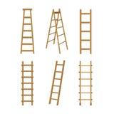 Différents types d'échelles en bois détaillées réalistes des escaliers 3d réglés Vecteur illustration stock