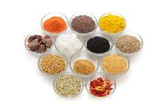 Différents types d'épices indiennes dans des bols en verre Photographie stock