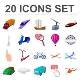 Différents types d'icônes de bande dessinée de transport dans la collection d'ensemble pour la conception Web d'actions de symbol Images libres de droits