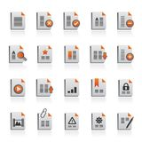 Différents types d'icônes de document Images libres de droits