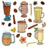 Différents types de café avec des grains de café Illustration Stock