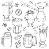 Différents types de café dans des tasses Illustration Stock