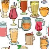 Différents types de café et de thé, fond sans couture Illustration de Vecteur