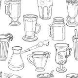 Différents types de café, fond sans couture Illustration de Vecteur
