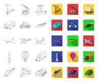 Différents types de contour de transport, icônes plates dans la collection réglée pour la conception Web d'actions de symbole de  illustration stock