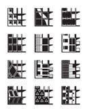 Différents types de façades des bâtiments Photo libre de droits