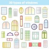 Différents types de fenêtres Images libres de droits
