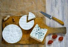 Différents types de fromage sur une planche à découper en bois Images stock