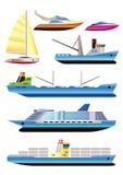 Différents types de graphismes de bateau et de bateau Images stock