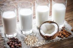 Différents types de lait sans aucun produit laitier Photographie stock libre de droits