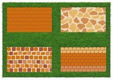Différents types de maçonnerie de pierre et de brique Photos stock