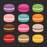 Différents types de macarons Ensemble de macaro différent de gâteau de goût illustration stock