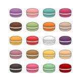 Différents types de macarons Ensemble de macaro différent de gâteau de goût illustration de vecteur