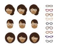 Différents types de montures de lunettes pour différents types d'ovales de visage illustration de vecteur