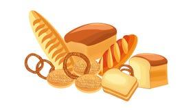 Différents types de pain Disposition des produits de pain, un signe d'une boulangerie ou magasin de pain illustration stock