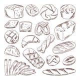 Différents types de pain frais Illustrations tirées par la main de vecteur des nourritures de boulangerie Illustration Libre de Droits