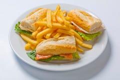 Différents types de sandwichs avec des pommes frites d'un plat blanc Image libre de droits