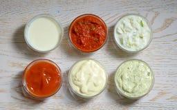 Différents types de sauces Photographie stock libre de droits