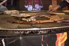 Différents types de saucisses sur un grand gril Image stock