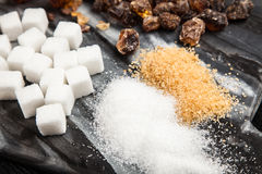 Différents types de sucre Images libres de droits