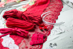 Différents types de tissu, textiles pour faire des soutiens-gorge Images stock